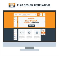 Flat design ui kit template