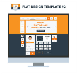 Flat design ui kit template with elements