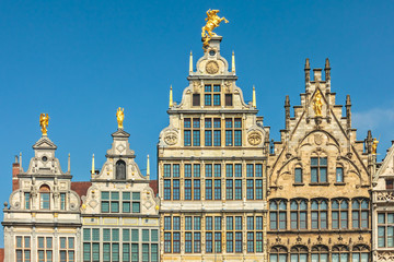 Ancient guild houses in Antwerp center, Belgium