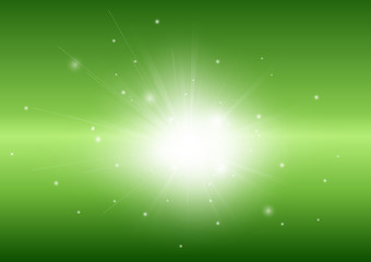 Green abstract background with glowing light ray beam