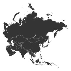 Asia Map Countries Shapes