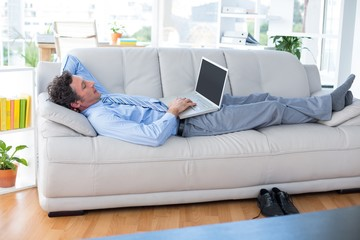 Businessman using his laptop on couch