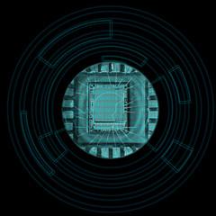 Microchip. Concept of modern technology.
