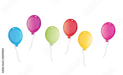 sechs bunte luftballons fliegen hoch - einladung zum geburtstag, Einladungen