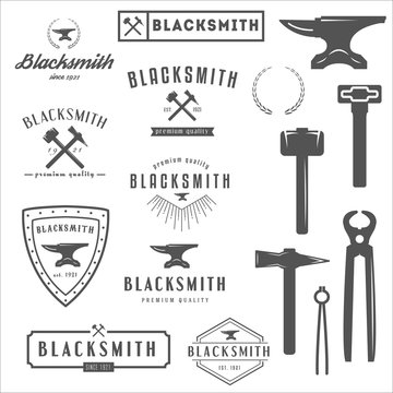 Collection of logo, elements and logotypes for blacksmith or