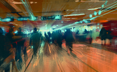 digital painting of motion blurred people walking in the terminal