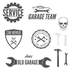 Set of logo, badge, emblem and logotype element for mechanic