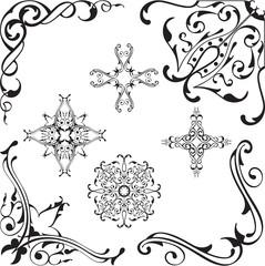 Scroll baroque corners set
