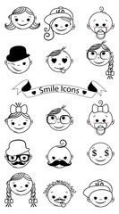 face icons, smile set. Vector illustration