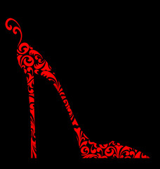 Chic Red Damask Shoe