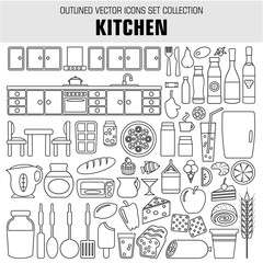 Outline set cooking and food icons. Vector