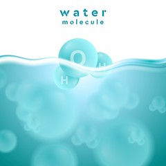 H2o blue water surface with molecule vector abstract design
