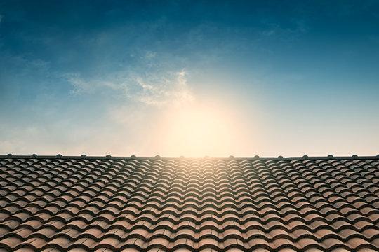 red tile roof blue sky,vintage filter