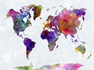 Wall Mural - World map in watercolorpurple and blue