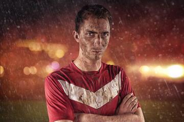 Fußballer im regen