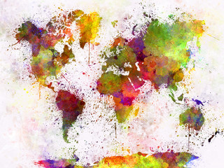 Fotomurales - World map in watercolor
