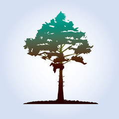 Tree and Leafs. Vector Illustration.