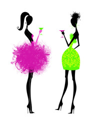Two Chic Young Women in Party Dresses