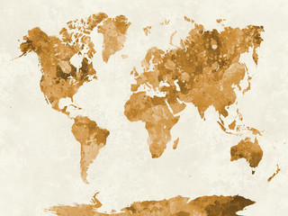 Wall Mural - World map in watercolor orange