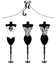 Chic Fashion Dress Forms Black and White