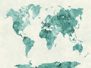 Obraz Mapa świata w zieleni akwarela - fototapety do salonu