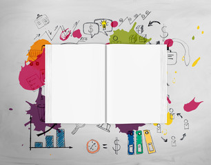 Top view of open book with bright ideas
