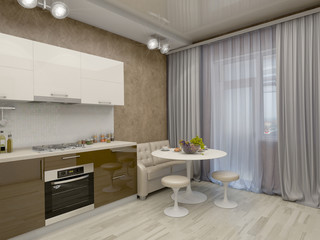 3d illustration of a kitchen in beige tones