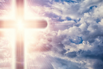 Christian cross in heavens