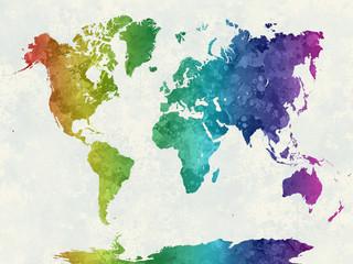 Obraz Mapa świata, tęczowa akwarela - fototapety do salonu