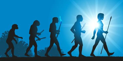 Concept de la théorie de l'évolution de Darwin, illustré avec la transformation de la silhouette humaine, de homme primitif à l'homo sapiens.
