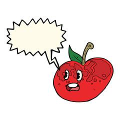 cartoon apple with speech bubble