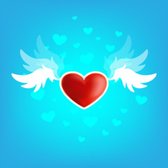 Beautiful heart on the wings of love