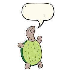 cartoon happy turtle with speech bubble