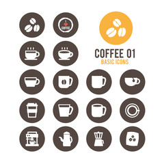 Coffee icon set. Vector illustration.