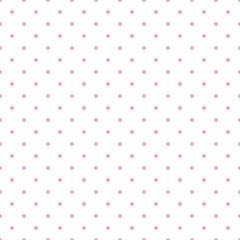 Tile vector pattern with pink polka dots on white background