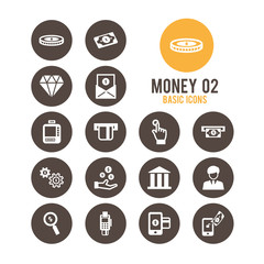 Money icon set. Vector illustration.
