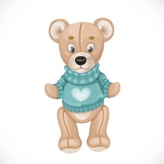 Toy teddy bear in a green sweater isolated on white background