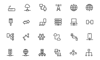 Network and Sharing Vector Outline Icons 2