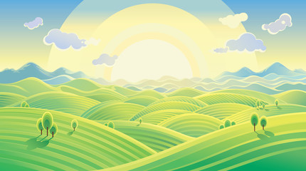 Sunny hilly landscape. Vector illustration can be used as background.