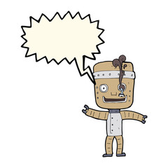 cartoon funny old robot with speech bubble