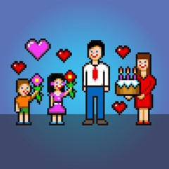 Daddy celebration - cake and flowers pixel art style vector illustration