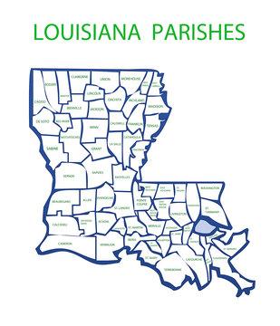 Louisiana With Parishes