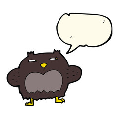 cartoon suspicious owl with speech bubble