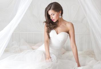 beautiful bride in wedding dress, studio