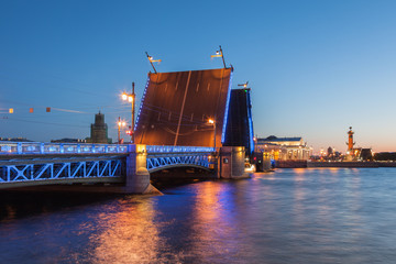 White Nights in St. Petersburg, opened the Palace bridge, a view