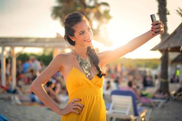 Brunette girl doing a selfie