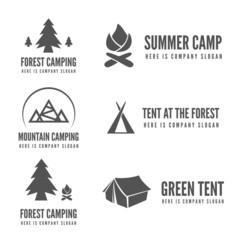 Set of modern camp badges, logo, emblem and logotype elements
