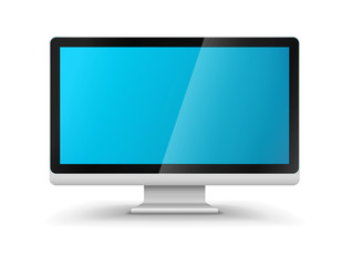 Computer display hd monitor with blank blue screen. Eps10