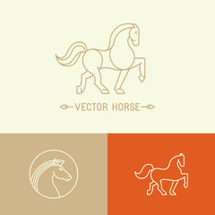 Vector horse logo template in trendy linear style