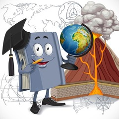 School geography textbook hold globe on diagram of volcano backg